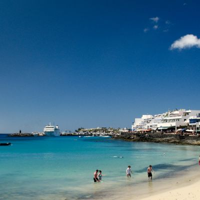 The small 'Town Beach' in the centre of Playa Blanca, Lanzarote.
