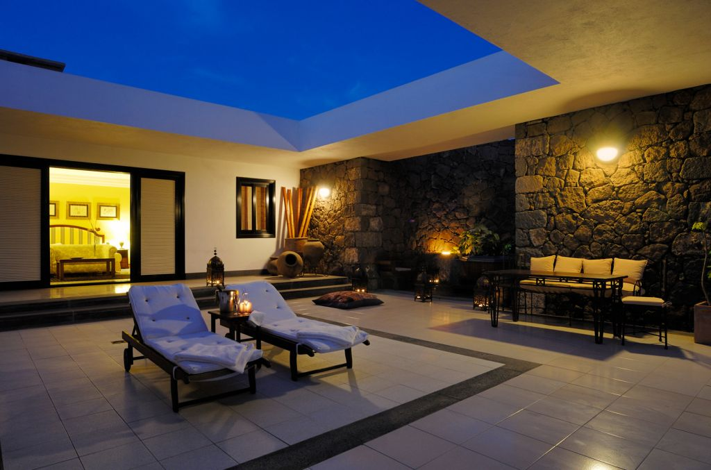 The large private terrace including Jacuzzi spa at Hotel Villa VIK