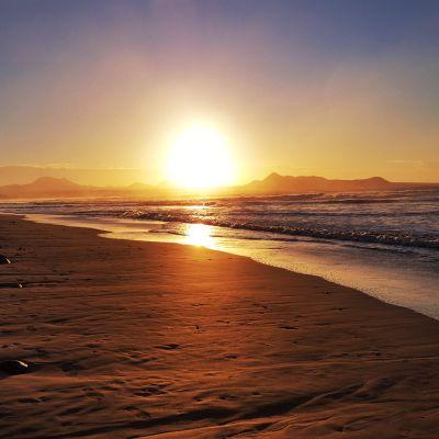 Sunset at Famara Beach, looking at Caleta de Famara