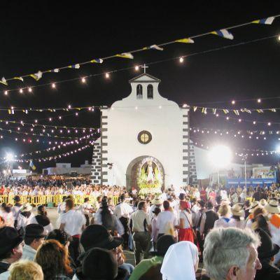 The Ermita de los Dolores, Mancha Blanca during the Romería de los Dolores Fiesta.