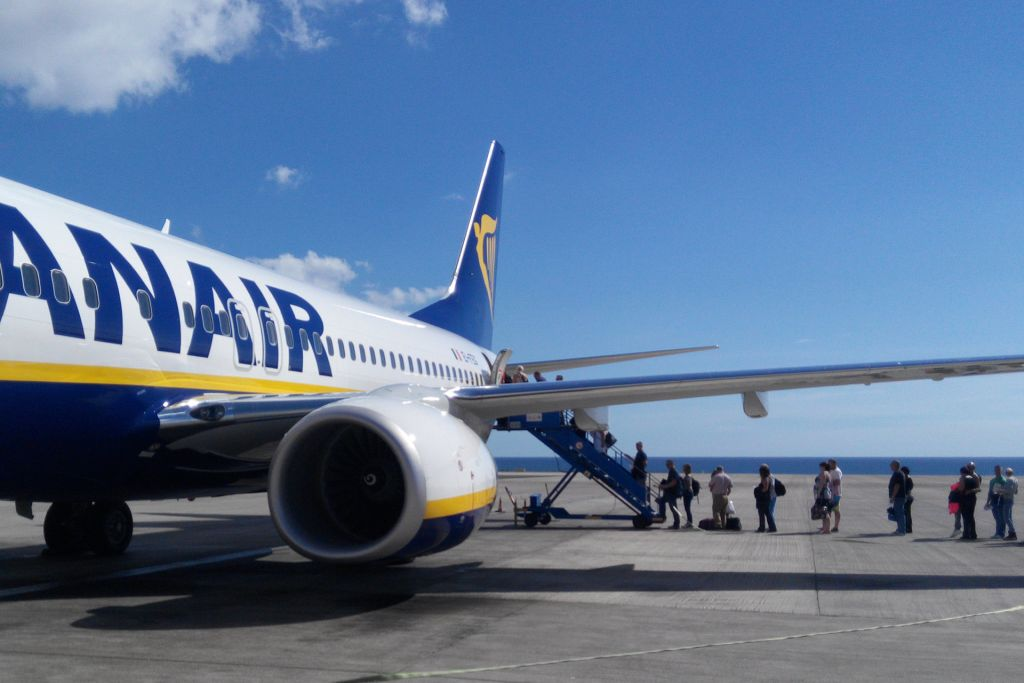 Passengers boarding a Ryanair Flight