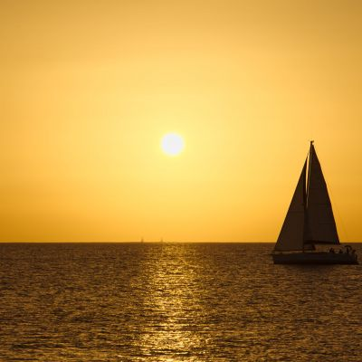 A Sailing Boat at Sunset off the coast of Lanzarote.