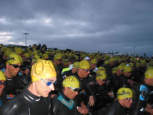 Swimmers about to start the Ironman Triathlon