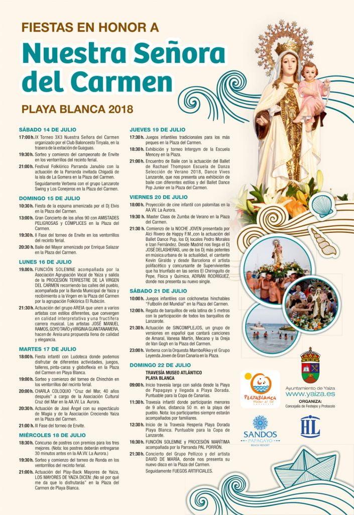 Fiestas en honor a Nuestra Señora del Carmen 2018, Playa Blanca, Lanzarote